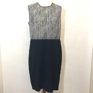 LOFT Plus Size 14 Dress Black White Printed Career